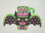 "BB 0546Halloween / Bat Girl / Pink Polka Dot Wings / Pink & Green Hat with Flower & feather 5 1/2"" 18 Mesh Burnett And Bradley"
