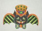 "BB 0547Halloween / Bat Boy / Green & Black Stripe Wings / Orange Top Hat with Green & Black 5 1/2"" 18 Mesh Burnett And Bradley"