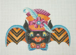 BB 0568Halloween / Bat Girl / Orange & Blue Pattern on Wings / Orange & Pink Hat with Feather 18 Mesh Burnett And Bradley