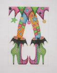 "BB 0570 Halloween / Happy Legs / Funky Skirt / Witch Shoes / Green 6.25"" x 4"" 18 Mesh Burnett And Bradley"