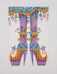 "BB 0571 Halloween / Happy Legs / Funky Skirt / Witch Shoes / Purple 6"" x 4.25"" 18 Mesh Burnett And Bradley"