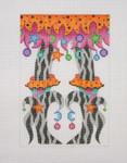 "BB 0572 Halloween / Happy Legs / Funky Skirt / Witch Shoes / Black 6"" x 4"" 18 Mesh Burnett And Bradley"