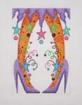 "BB 0575 Purple Witch Heels  6.25"" x 4.25""18 Mesh Burnett And Bradley"