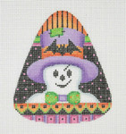"BB 0590 Candy Corn Shaped Ghost 4"" x 3.25""	18 Mesh Burnett And Bradley"