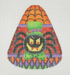 "BB 0592 Candy Corn Shaped Spider 4"" x 3.25""	18 Mesh Burnett And Bradley"