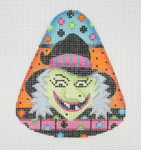 "BB 0593 Candy Corn Shaped Witch 4"" x 3.25""	18 Mesh Burnett And Bradley"