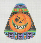 "BB 0594 Candy Corn Shaped Pumpkin 4"" x 3.25"" 18 Mesh Burnett And Bradley"