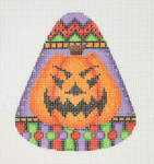 "BB 0597 Candy Corn Shaped Pumpkin Purple	4"" x 3.25"" 18 Mesh Burnett And Bradley"