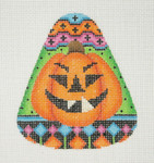 "BB 0598 Candy Corn Shaped Pumpkin Green	4"" x 3.25"" 18 Mesh Burnett And Bradley"