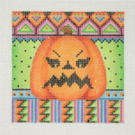 "BB 0616Halloween / Square / Pumpkin 3.5"" x 3.5""18 Mesh Burnett And Bradley"