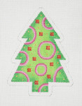 "BB 0634 Christmas Tree / Green, Pink & Red 4"" x 3"" 18 Mesh Burnett And Bradley"