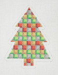 "BB 0633 Christmas  Tree / Gold, Silver, Red & Green  4"" x 3""	18 Mesh Burnett And Bradley"