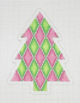 "BB 0625 Christmas Tree / Pink, Green 4"" x 3"" 18 Mesh Burnett And Bradley"