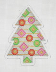 "BB 0626 Christmas Tree Silver, Pink, Red & Green 4"" x 3"" 18 Mesh Burnett And Bradley"