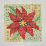 "BB 0654 Poinsettia with Patterned Background 6X6"" 18 Mesh Burnett And Bradley"