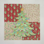 "BB 0656 Christmas Tree with Patterned Background  6X6""	18 Mesh Burnett And Bradley"