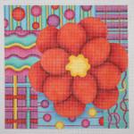 "BB 0677 Red Flower / Multi-Colored Patchwork Background 8"" x 8""18 Mesh Burnett And Bradley"