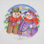 "BB 0689 Snow Scene / Snow Couple With Christmas Lights 4 1/2"" Round	18 Mesh Burnett And Bradley"