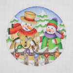 """BB 0690 Snow Scene / Snow Family Hanging Christmas Lights 4 1/2"""" Round 18  Mesh Burnett And Bradley"""