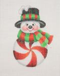 "BB 0691 Snowman Peppermint Red/ Black Top Hat 4"" x 2.75"" 18 Mesh Burnett And Bradley"