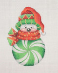 "BB 0692 Snowman Peppermint Green  4.25"" x 2.75"" 18Mesh Burnett And Bradley"