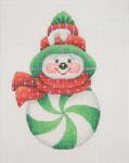 "BB 0694 Snowman Peppermint 4.25"" x 2.75""18 Mesh Burnett And Bradley"