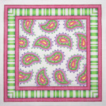 "BB 0673  Paisley with Stripe Border / Pink, Green 13"" x 13"" 13 Mesh Burnett And Bradley"