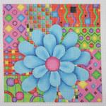 "BB 0680 Blue Flower / Multi-Color Patchwork Background 8"" x 8"" 18 Mesh Burnett And Bradley"