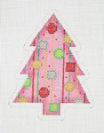 "BB 0750 Christmas Tree / Pink, Red, Green, Gold & Silver 4"" x 3""	18 Mesh Burnett And Bradley"