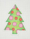 "BB 0751	Christmas Tree / Green, Pink, Red, Gold & Silver 4"" x 3"" 18 Mesh Burnett And Bradley"
