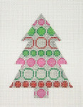 "BB 0752	Christmas Tree / Silver, Green, Red & Pink 4"" x 3""	18 Mesh Burnett And Bradley"
