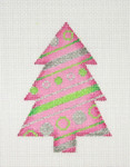 "BB 0753	Christmas Tree / Pink, Green & Silver 4"" x 3"" 18 Mesh Burnett And Bradley"
