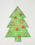 "BB 0754 Christmas Ornament / Tree / Green, Red, Gold & Silver 4"" x 3""	18 Mesh Burnett And Bradley"