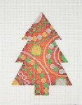 "BB 0755 Christmas Ornament / Tree / Red, Green, Gold & Silver 4"" x 3""	18 Mesh Burnett And Bradley"