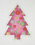 "BB 0756 Christmas Tree / Pink with Red. Green, Gold & Silver Circles 4"" x 3""18 Mesh Burnett And Bradley"