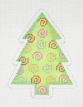 "BB 0757 Christmas Tree Green with Red, Gold, Silver & Pink Swirls  4"" x 3"" 18 Mesh Burnett And Bradley"