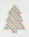 "BB 0758 Christmas Tree Silver with Red & Green Diagonal Stripes  4"" x 3"" 18 Mesh Burnett And Bradley"
