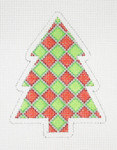"BB 0759 Christmas Tree Red & Green Diamond  4"" x 3""	18 Mesh Burnett And Bradley"