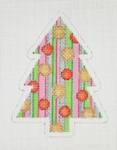 "BB 0760 Christmas Tree / Silver, Pink & Green Stripes / Red & Gold Circles  4"" x 3"" 18 Mesh Burnett And Bradley"