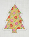 "BB 0761Christmas Tree / Gold Diagonal Stripes 4"" x 3""  18 Mesh Burnett And Bradley"