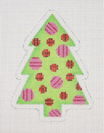 "BB 0762 Christmas Tree / Green with Pink & Red Circles 4"" x 3""	18  Mesh Burnett And Bradley"