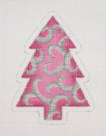 "BB 0763	Christmas Ornament / Tree / Pink with Silver Swirls 4"" x 3""	18  Mesh Burnett And Bradley"