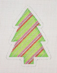 "BB 0764 Christmas Tree / Green with Red, Silver & Pink Stripes 4"" x 3""	18   Mesh Burnett And Bradley"