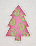 "BB 0765 Christmas Tree / Pink with Lime Green Swirls 4"" x 3"" 18  Mesh Burnett And Bradley"