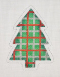 "BB 0766 Christmas Tree / Green, Red & Silver Plaid 4"" x 3""	18  Mesh Burnett And Bradley"