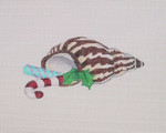 "BB 0774	By the Sea / Cone Shell / Candy Canes and Holly 2.25"" x 4.5"" 18 Mesh Burnett And Bradley"