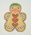 "BB 1082 Gingerbread / Girl Heart Buttons 3.5"" x 2.75"" 18 Mesh Burnett And Bradley"