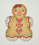 "BB 0924 Gingerbread / Girl  Red Heart Buttons / Red Bow 3.5"" x 2.75"" 18 Mesh Burnett And Bradley"