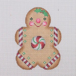 "BB 0927 Gingerbread / Boy / Round Peppermint Center 3.5"" x 2.75""18 Mesh Burnett And Bradley"