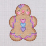 "BB 0930 Gingerbread / Girl / Pink,  Purple, and Blue Heart Buttons 3.5"" x 2.75"" 18  Mesh Burnett And Bradley"